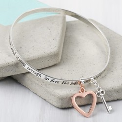 Silver 'Bold and Brave' Meaningful Words Charm Bangle