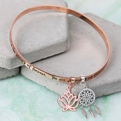 Rose Gold 'My Favourite Person... ' Meaningful Words Charm Bangle