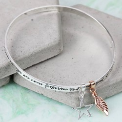 Silver 'Never Forgotten...' Meaningful Words Charm Bangle