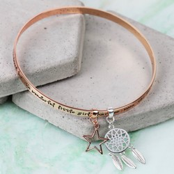 Rose Gold 'Precious Daughter' Meaningful Words Charm Bangle
