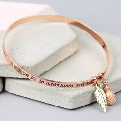 Rose Gold 'Say Yes to Adventure' Meaningful Words Charm Bangle