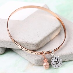 Rose Gold 'Sisters...' Meaningful Words Charm Bangle