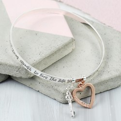 Personalised 'Bold and Brave' Meaningful Words Charm Bangle