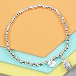 Silver Pineapple Beaded Bracelet