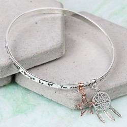 Silver 'Precious Daughter' Meaningful Words Charm Bangle