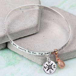 Silver 'Sisters...' Meaningful Words Charm Bangle