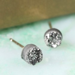 Grey Druzy Stone Stud Earrings