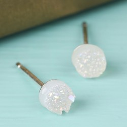 White Druzy Stone Stud Earrings