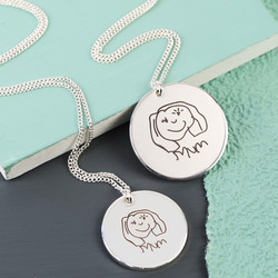 Personalised 'Face Drawing' Silver Disc Necklace