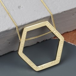Personalised Longline Large Hexagon Pendant Necklace