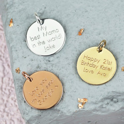 Personalised Engraved Disc Bracelet Charm
