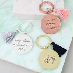 Personalised Matt Disc Keyring with Tassel