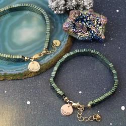 Personalised Semi-Precious Hematite Chevron Stone Bracelet