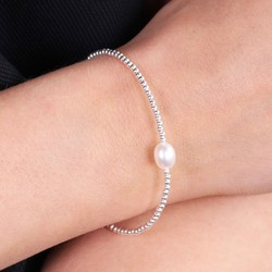 Sterling Silver Beads and Pearl Bracelet