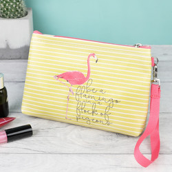 Flamingo Striped Make Up Bag