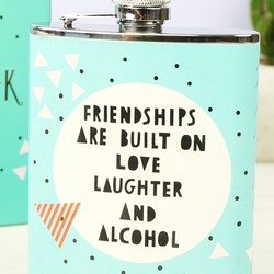 Personalised Turquoise Geometric 'Friendships' Hip Flask