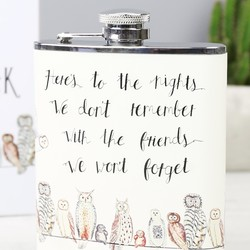 Personalised Owls On A Wire Hip Flask