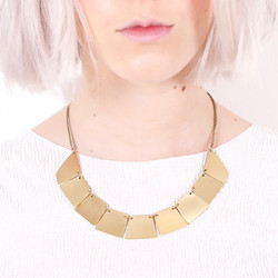 Scratched Gold Geometric Statement Necklace