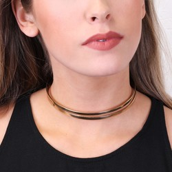 Double Layer Curved Gold Choker