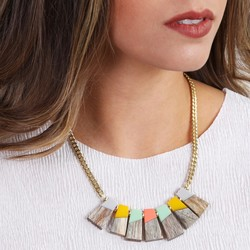 Geometric Wood and Resin Statement Necklace