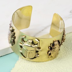 Antiqued Gold Beetle Cuff