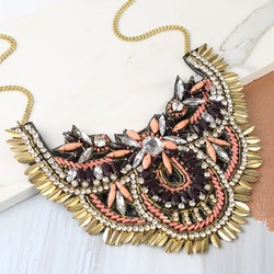 Beaded Fabric Collar Necklace