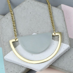 Bold Grey Semicircle and Bar Necklace in Gold