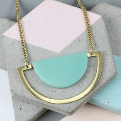 Bold Turquoise Semicircle and Bar Necklace in Gold