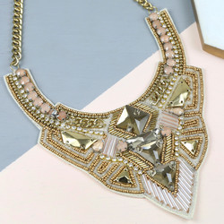 Crystal Beaded Fabric Statement Collar Necklace