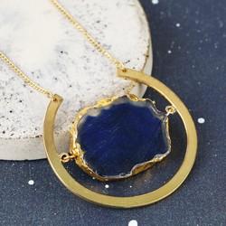 Long Semi-Precious Agate Stone Gold Necklace