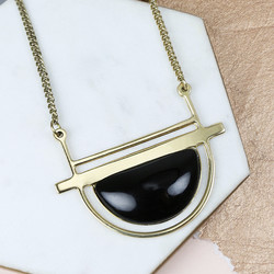 Long Statement Black Semicircle Stone Necklace in Gold