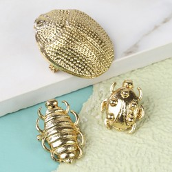 Set of 3 Gold Beetle Brooches