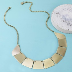 Brushed Gold Geometric Statement Necklace