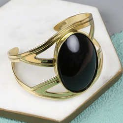 Large Black Stone Crossover Cuff in Gold