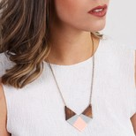 Large Geometric Wooden Pendant Necklace in Pink and Grey