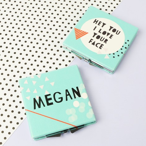 Personalised 'I Love Your Face' Compact Mirror