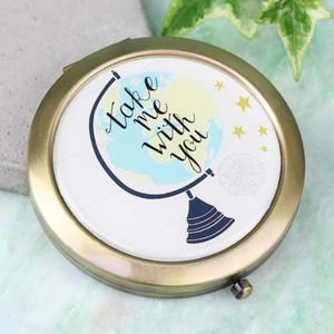 'Take Me With You' Globe Compact Mirror