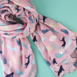 Personalised Illustrated Cat Scarf in Pink