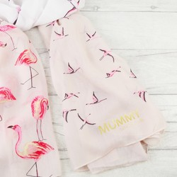 Personalised 'Family Since' Pink Flamingo Scarf