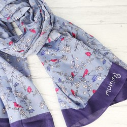 Personalised 'Your Handwriting' Dark Blue Bird and Blossom Scarf