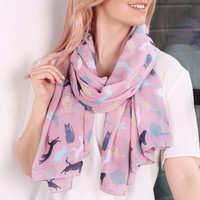 Illustrated Cat Scarf in Pink