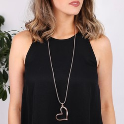 Long Burnished Heart Pendant Necklace in Rose Gold