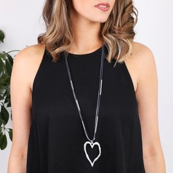 Long Cord and Bead Necklace with Burnished Silver Heart