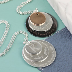 Personalised Long Burnished Triple Disc Necklace