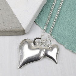 Long Silver Double Heart and Toggle Necklace