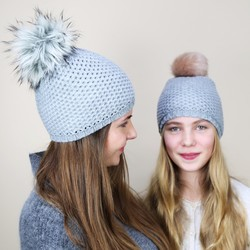 Grey Interchangeable Pom Pom Hat