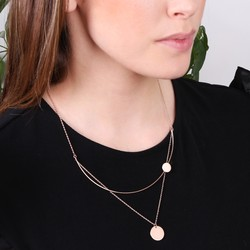 Double Disc with Curved Bar Necklace in Rose Gold