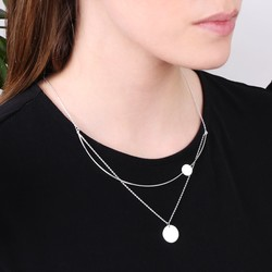 Double Disc with Curved Bar Necklace in Silver