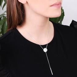 Labradorite Circle and Bar Y-Necklace in Silver