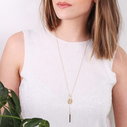 Long Disc and Bar Lariat Necklace in Gold